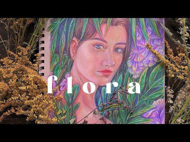 """[VIDEO] COLORED PENCIL PORTRAIT   🌸 """"flora"""""""