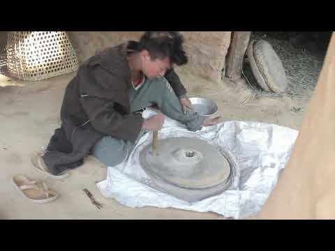 Milling maize by using primitive technology for food recipe