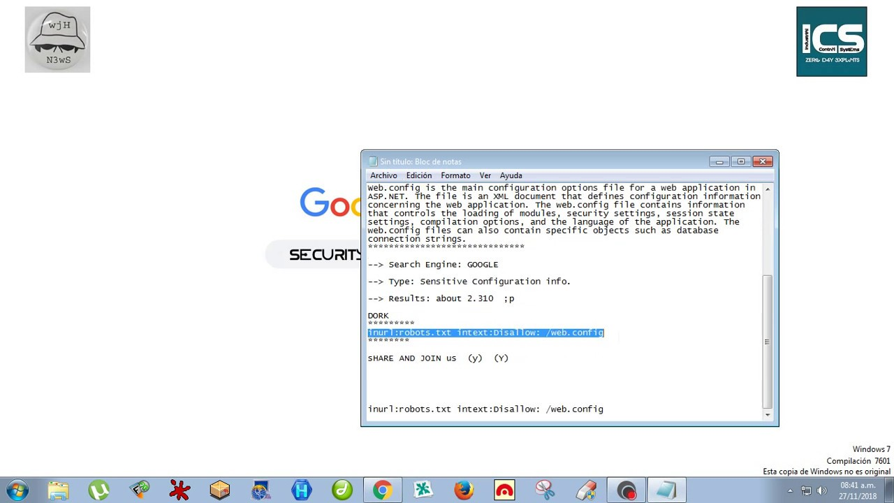 Security Dorks Hacking Database - Finding web config file in servers using  a Google Dork