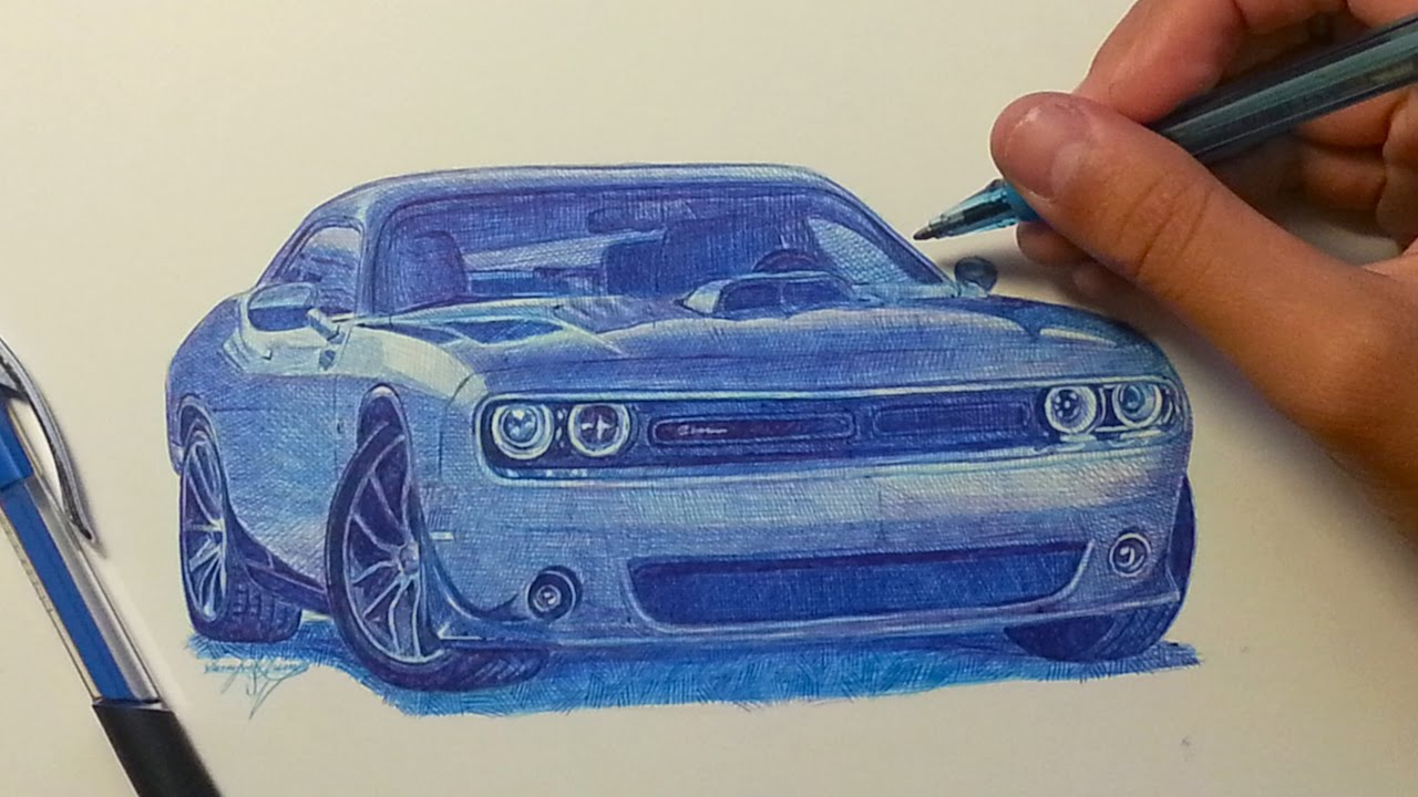 dodge challenger drawing with ballpoint pen youtube. Black Bedroom Furniture Sets. Home Design Ideas