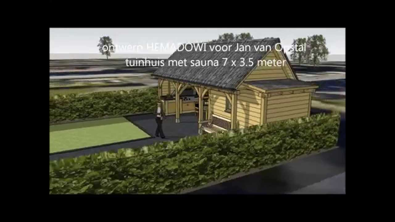Eiken tuinhuis met sauna en eiken gebint van hemadowi ontwerp ...