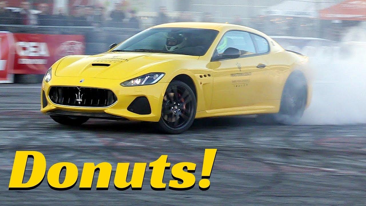 NEW Maserati GranTurismo MY18 in Action - Massive Burnout & Donuts - Motor Show Bologna 2017