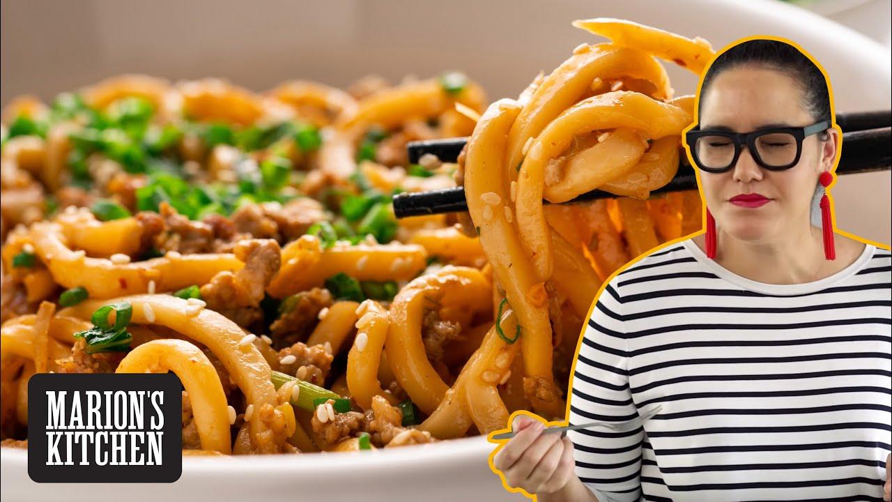 15-minute Pork & Sesame Udon Noodles