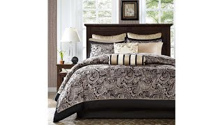 Madison Park Aubrey Full Size Bed Comforter Set Bed In A Bag | Black, Champagne , Paisley Jacquard