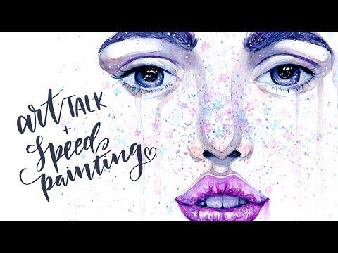 Art Talk & Advice on ART BLOCK & Watercolor Girl Speed Painting