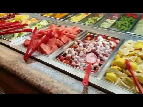Salad Fruit Bar at Chinese Buffet Restaurant Watermelon Shrimp Stawberries