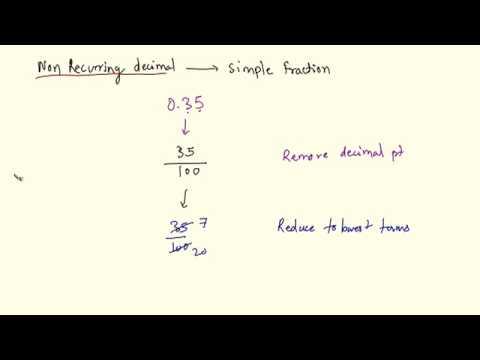 QT 23 Converting Non recurring Decimal to Simple Fractios Low
