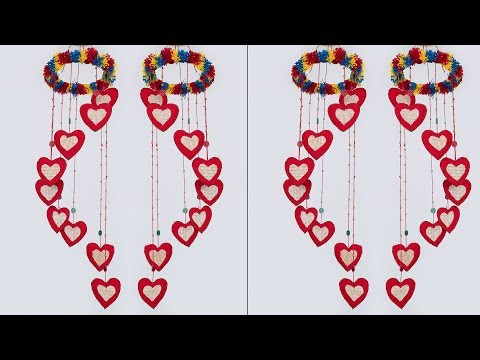 Wonderful Heart Shaped Wall Hanging    DIY Heart Jhumar Making