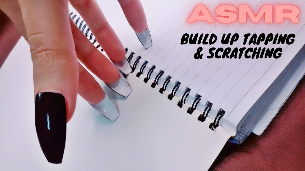 ASMR | Build up Tapping & Scratching A Notebook | Lofi | Long Nails ASMR