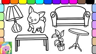 How To Draw And Color Barbie Living Room | Coloring Pages For Kids | Learn Simple Object Names