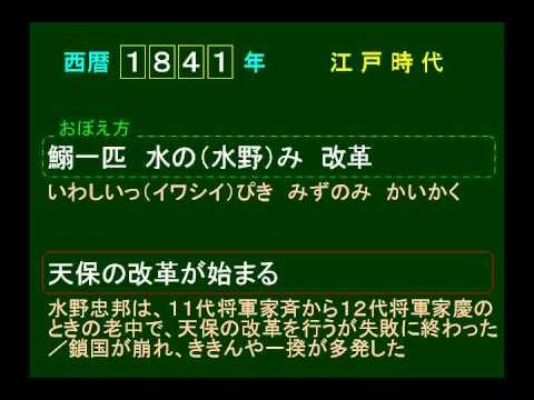 歴史 語呂合わせ日本史10 1841 天保の改革を始める