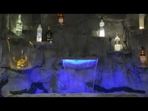 LED Indoor Bar Waterfall Fountain LED Lighting | Custom Made By WaterfallNow | Vancouver BC