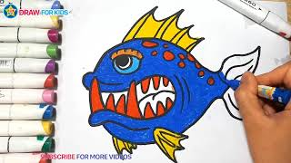 Coloring a Fish    Draw For Kids