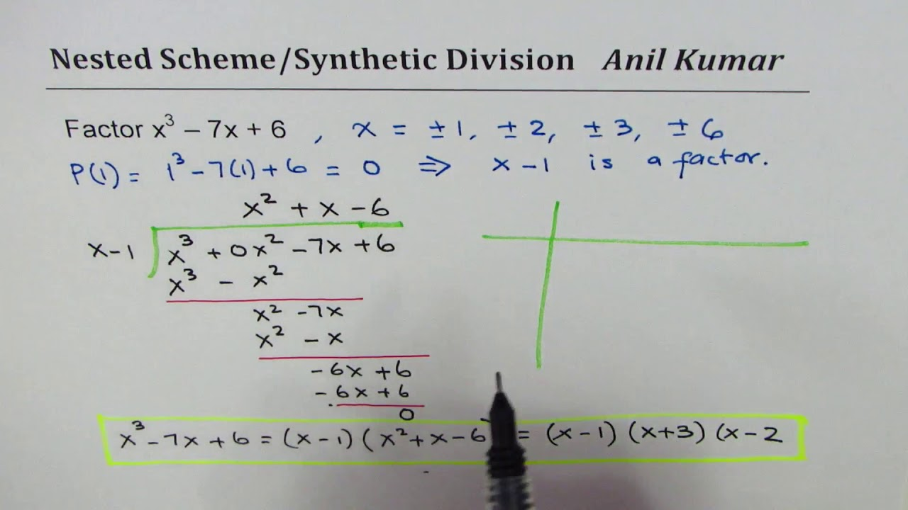 Factor x^3 - 7x + 6 using Long and Synthetic Division ...