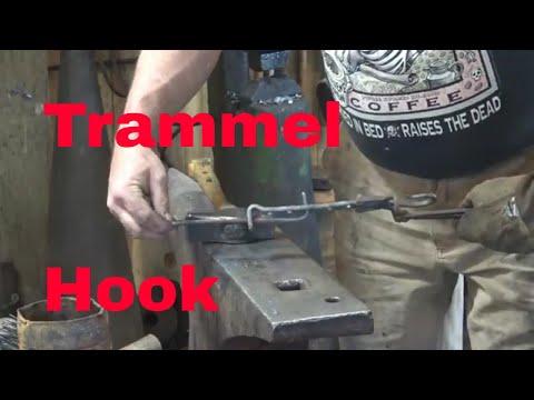 Trammel hook for campfire cooking tripod