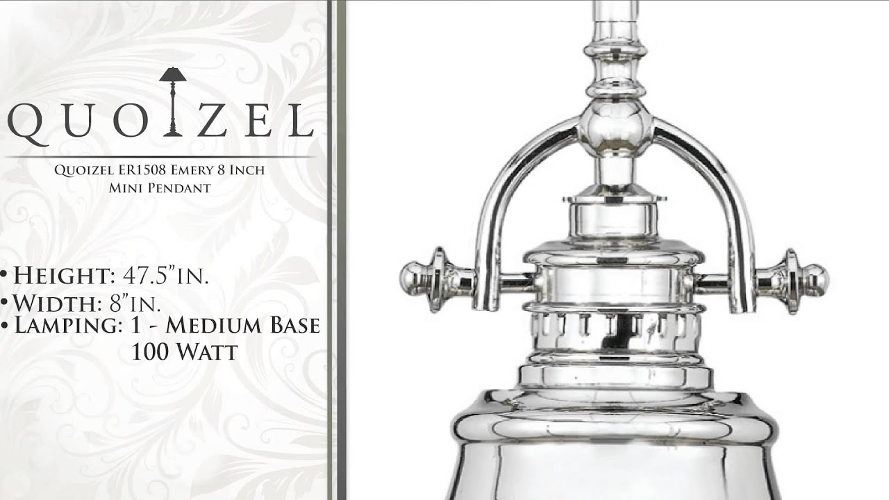 Quoizel er1508 emery 8 inch mini pendant youtube mozeypictures Image collections