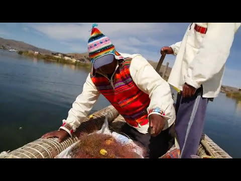 Fishing in Lake Titicaca Uros Islands Peru