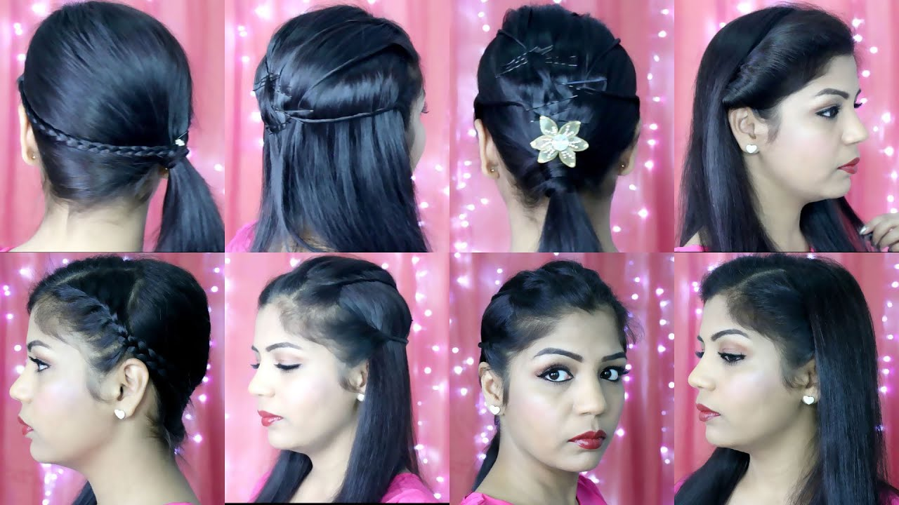 4 Quick and Easy Hairstyles | Indian Party Heatless Hairstyles ...