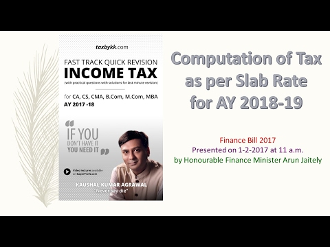 Computation of tax as per slab rate for AY 2018-19. Finance Bill 2017