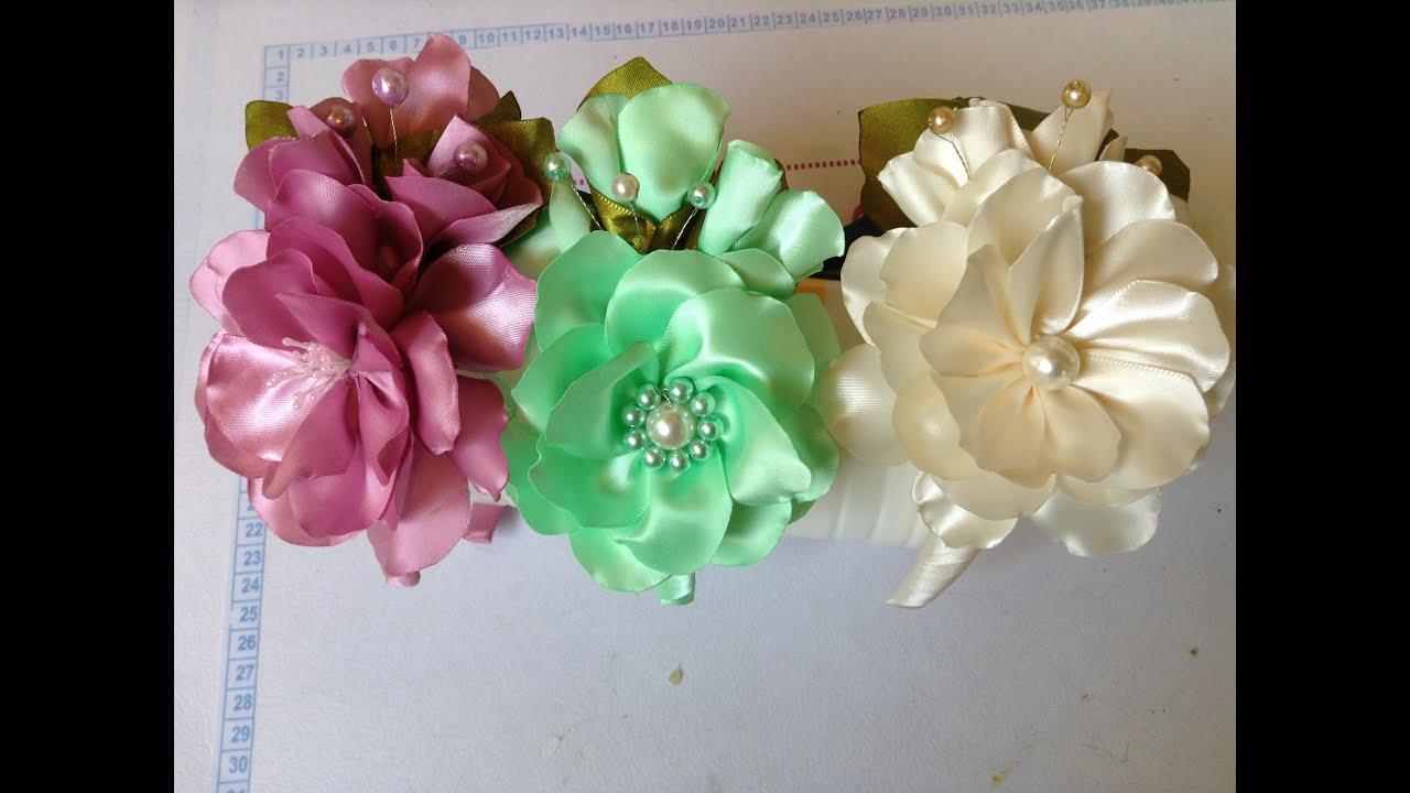 Como hacer una diadema adornada con flores en satin y - Material para hacer diademas ...