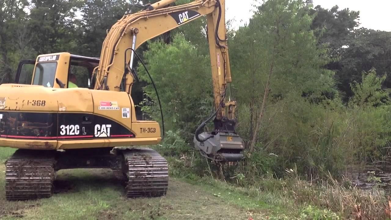 Cat 312c Excavator With Fae Mulcher Attachment Youtube