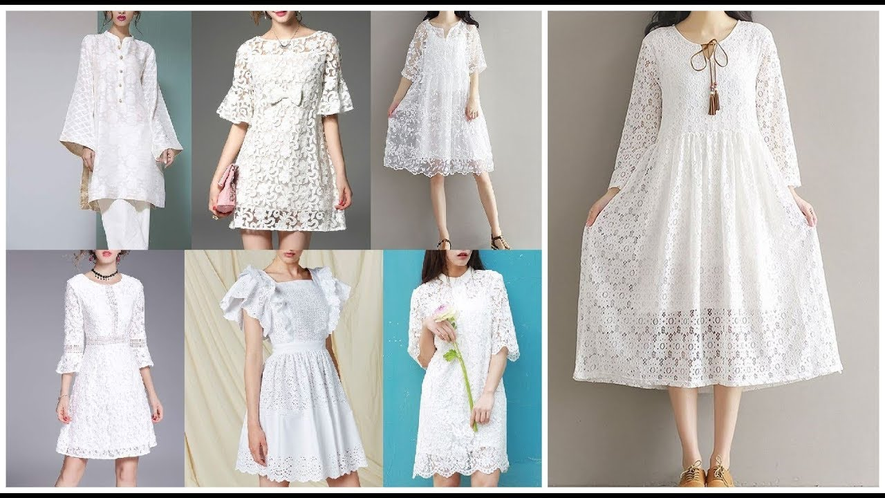 [VIDEO] - Casual Women White Dress=Pretty White Lace Dresses=Cute Simple Dress Ideas 2019-20 5