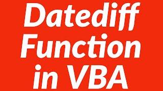 Using Datediff Function in VBA