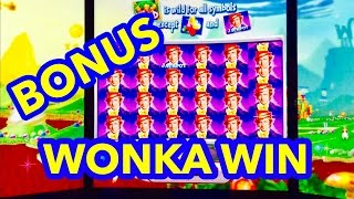 **RARE FULL SCREEN WONKA WIN!!!** WORLD of WONKA SLOT MACHINE! BONUS/ 6 OOMPA LOOMPA FEATURES!