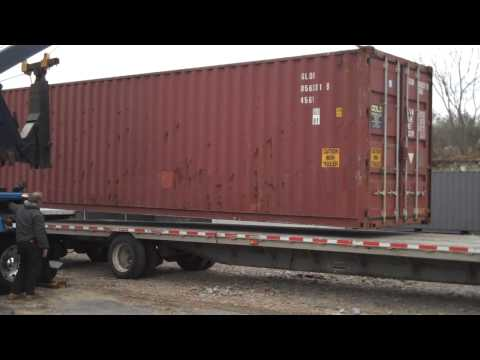 Loaded 40' High Cube Shipping Container Lifted By 50 Ton Wrecker