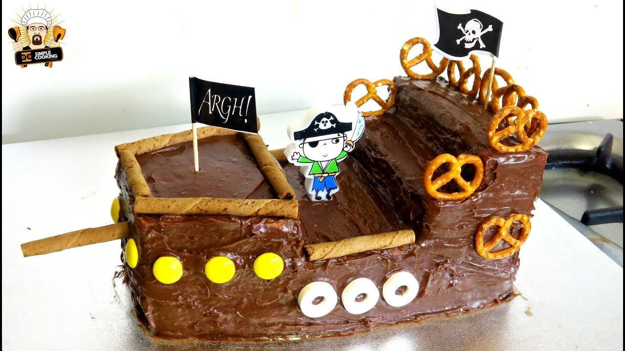 Easy To Make Pirate Ship Birthday Cake