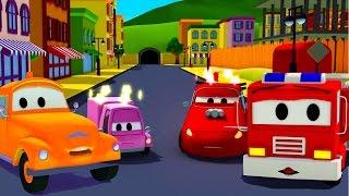 La Super Patrulla: camión de bomberos y patrulla de policía con Tom la Grúa y el accidente Dibujos
