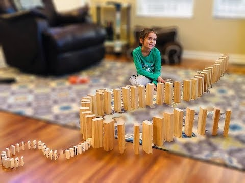 DOUBLE DOMINO EFFECT WOODEN BLOCKS AND DOMINOES