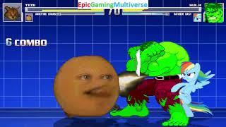 Tedi The Robotic Teddy Bear And Annoying Orange VS Hulk And Rainbow Dash In A MUGEN Match / Battle