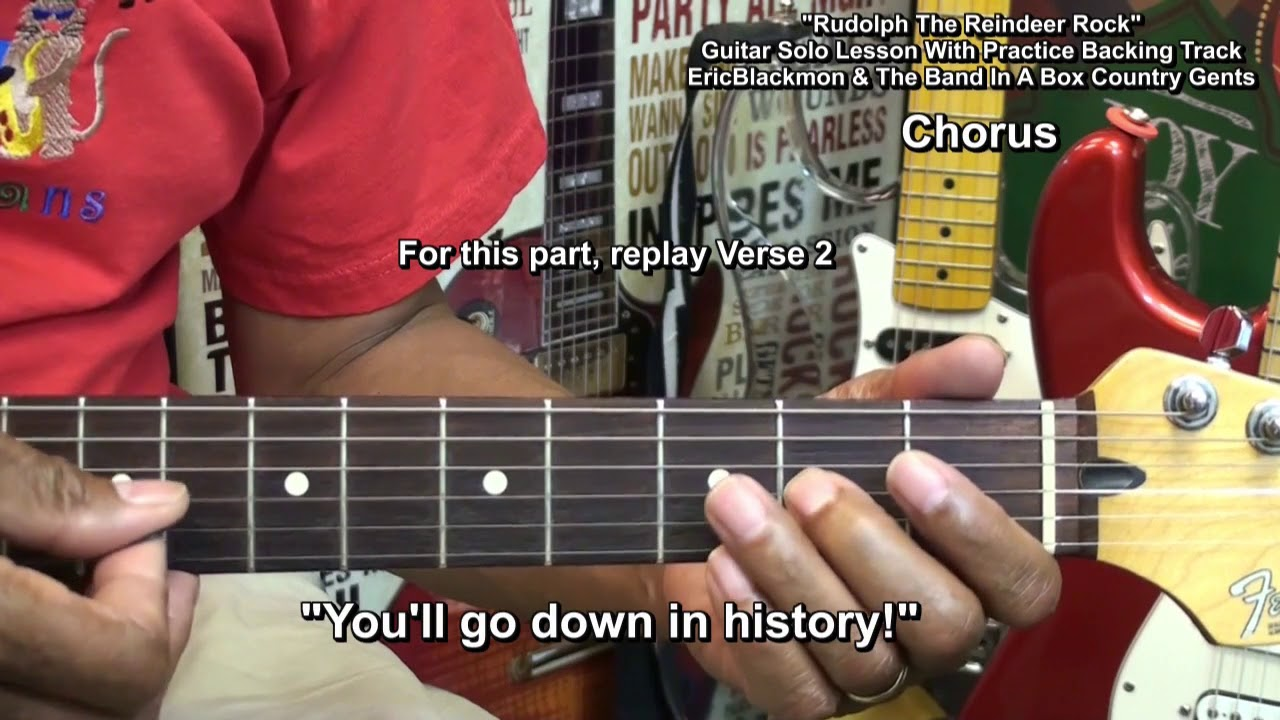 How To Play Rudolph The RedNosed Reindeer On Electric Guitar SOLO - Musical history guitar solo