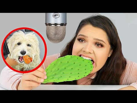 I Tried ASMR againEating Raw Cactus, Slime, Fried Chicken Sticky Crunchy Sounds