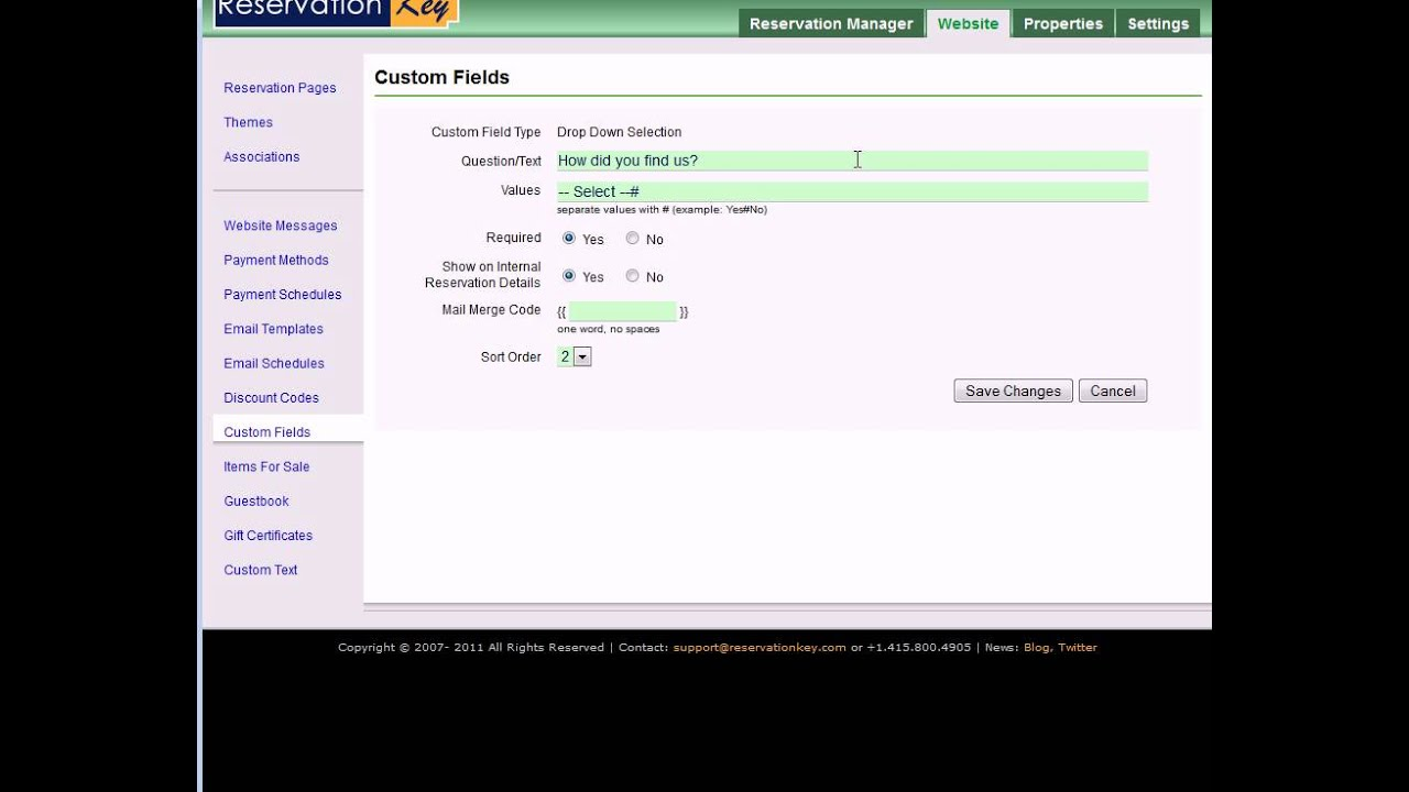 Customizing the Reservation Form