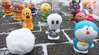 アンパンマン おもちゃ 雪だるまでボウリング アニメ  TOY KIDS   Doraemon  Anpanman