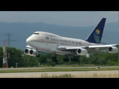 Saudi Arabian Boeing 747-SP landing & take-off @ GVA - 28/7/2012