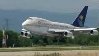 Saudi Arabian Boeing 747-SP landing & take-off @ GVA - 28/7/2012