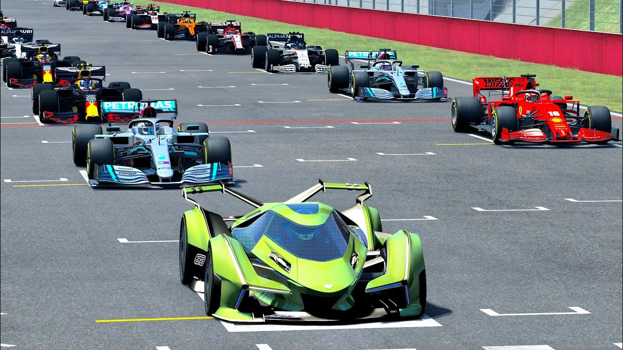 F1 2020 Cars vs Lamborghini V12 Vision GT at Mugello - YouTube