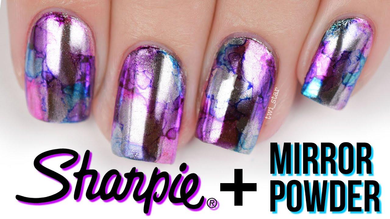 Sharpie + Mirror Powder! Chrome Watercolor Nail Art - YouTube