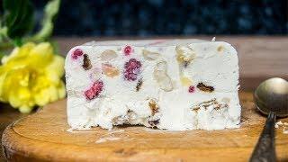 Мороженое Семифредо с малиной, орехами и сухофруктами