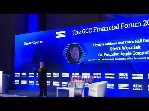 Steve Wozniak speaks at GCC Financial Forum 2019 in Bahrain