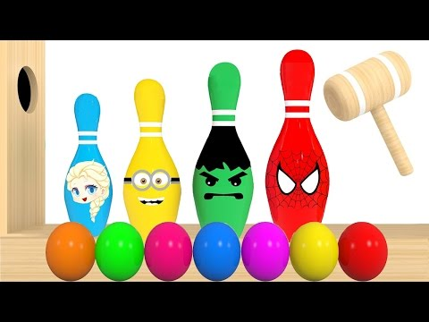 Thumbnail: Colors for Kids to Learn With Bowling Balls Wooden Xylophone Hammer for Children - Colours for Kids