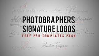 التصوير الشعار التوقيع على حزمة مجانية (PSD مربع)