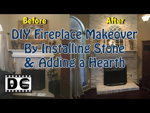 DIY Fireplace Makeover by Installing Stone and Adding a Hearth
