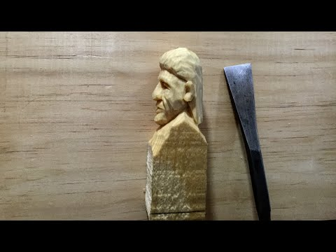 TIME LAPSE, CARVING A FACE JUST USING A FISHTAIL GOUGE.