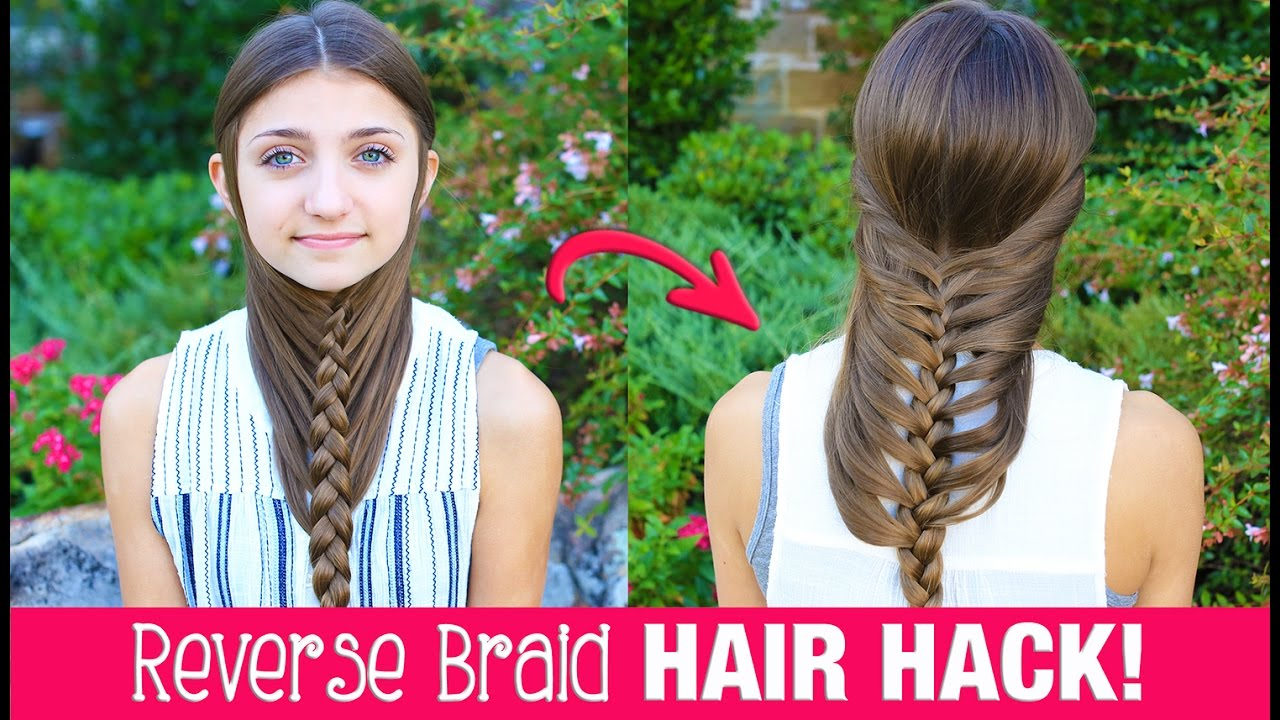 HAIR HACK DIY Reverse Braid In Under Minutes Life Hacks - Hairstyle diy video