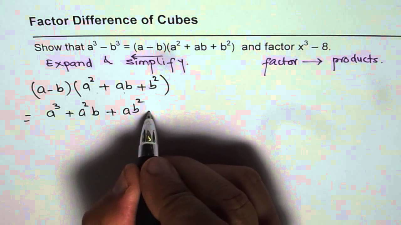 Expand And Factor Difference Of Cubes