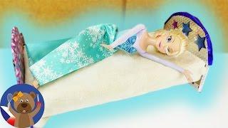 Ledové království - Elsa dostane novou postel - Barbie postýlka - DIY nábytek pro panenky